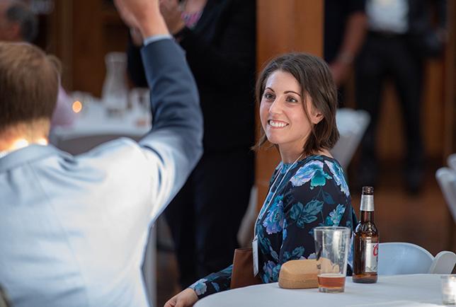 woman at table.